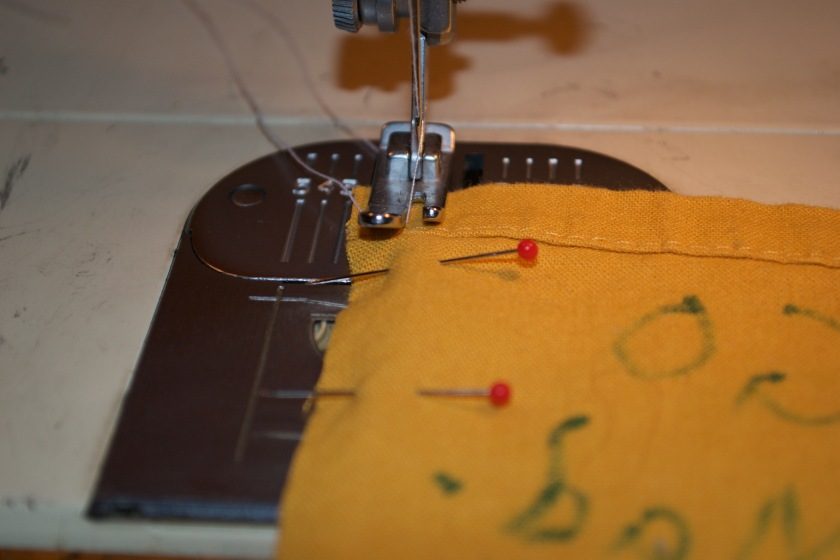 Sewing the squares together.